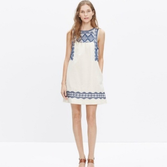 9ac368540a Madewell Dresses   Skirts - Made well optic white linen embroidered  stitchtake